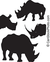 set of silhouette of rhinoceros