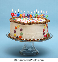 Happy Birthday Cake - A cake and its candles that read happy...