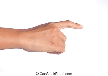 gesture of hand touch screen isolated over white background
