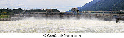Bonneville Lock and Dam Panorama - Bonneville Lock and Dam...