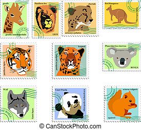 stamps of animals - collection of stamps of animals