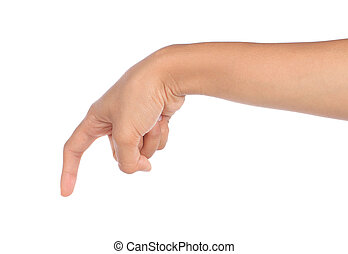 gesture of hand pushing down isolated over white background