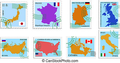 stamp collection - Set vector stamps of G8 countries