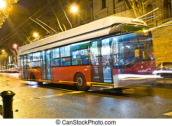 Electric bus - Electrically powered bus in Budapest, Hungary...