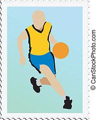 basketball on stamp