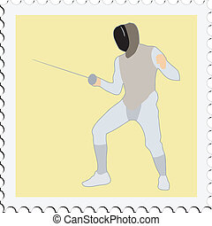 fencing on stamp