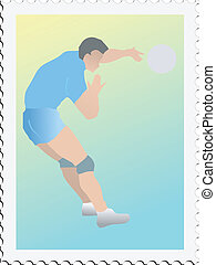 Volleyball on stamp