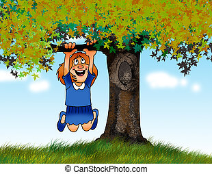 tree climb - a young girl swinging from a tree branch