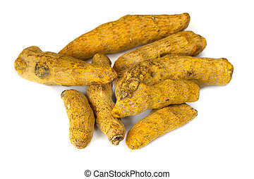 Turmeric root, isolated on white background