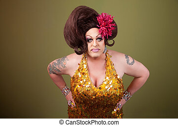 Serious Drag Queen - Serious large drag queen with hands on...