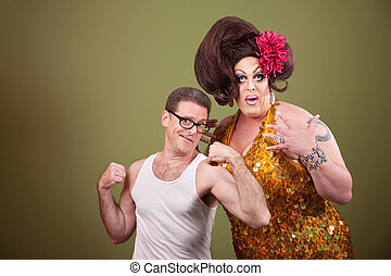 Man With Drag Queen - Short muscular man with impressed...