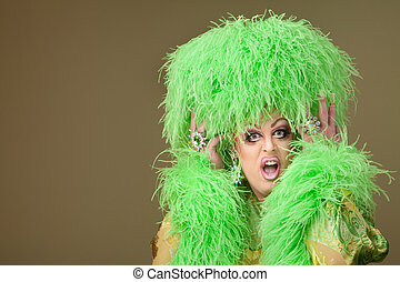 Shocked Drag Queen - Shocked drag queen holding boa hat on...