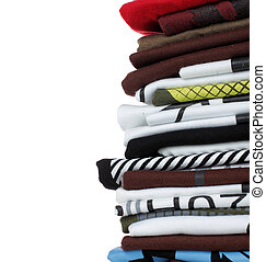 stack of t-shirt and clothes, over white background