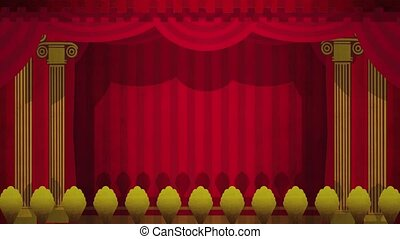 Theatre Curtains Opening on Green - Computer generated...