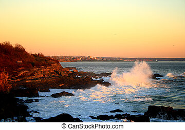 Maine Coast Sunrise - In the golden hour just after sunrise,...