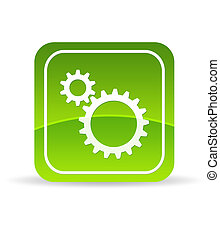 Green Mechanical Gears Icon - High resolution green...