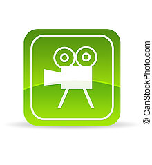 Green Video Camera Icon - High resolution green video film...