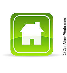 Green Home Icon - High resolution green home icon on white...