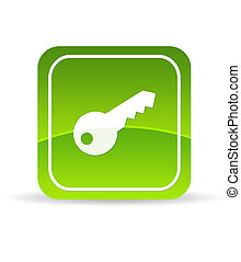 Green Key Icon - High resolution green key icon on white...