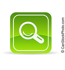 Green Magnifying Glass Icon - High resolution green search...