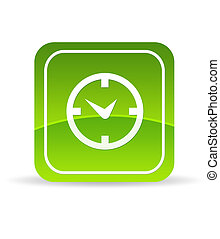 Green clock Icon - High resolution green business schedule...