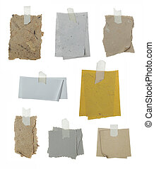set of 8 note papers taped - A set of 8 note papers taped...