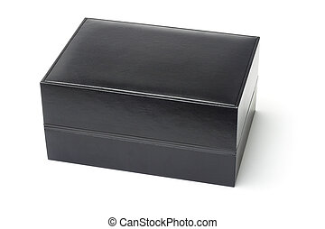 Black jewelry box isolated on white background