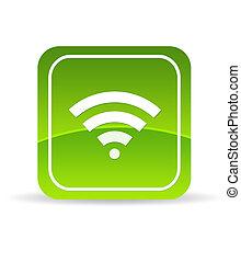 Green Wifi Icon - High resolution green wifi icon on white...