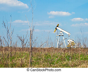 oil derrick - An oil well with the pump jack in action.
