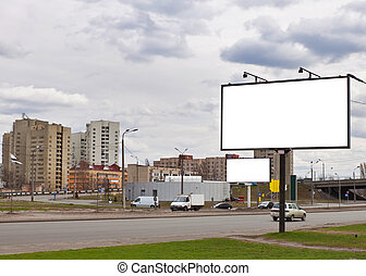 advertising billboard standing in the street to paste your...
