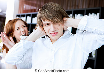 couple in disagreement at home - picture of couple in...