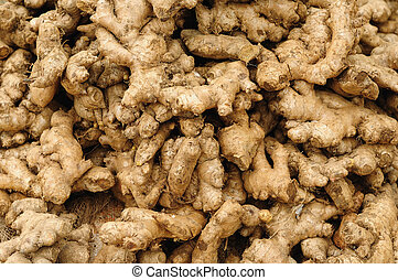 Ginger - Closeup of freshly produced bunch of ginger roots