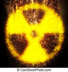 radiation  - sign of radiation on a rusty texture