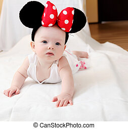 little baby with mouse ears - portrait of little baby with...