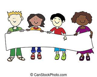 Diversidade, crianças, bandeira, étnico