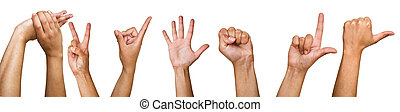 Human hands on a white background. Different variants of...