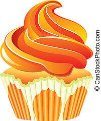 vetorial, laranja, Cupcake