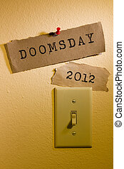 Doomsday 2012 - Old papers with the words Doomsday and 2012...