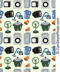 cartoon Home Appliances seamless pattern