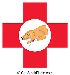Veterinary red cross with a dog - Vector illustration of a...