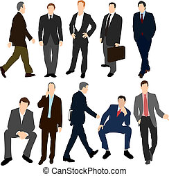 Set of Men in Suits - Illustration set of various men in...