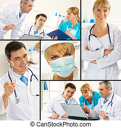 Clinicians - Collage of blue collar workers in working...