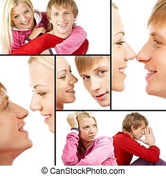 Affectionate couple - Collage of happy couple in different...