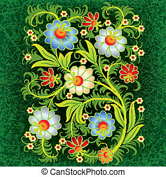 abstract grunge floral ornament with orange flowers on green...