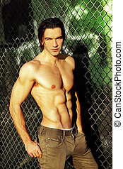 Shirtless male fashion model - Sexy male fashion model...