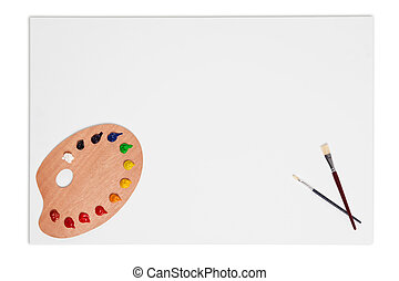 Blank canvas brushes and paint palette isolated on white