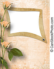 Grunge frame for photo with beautiful roses