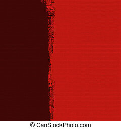 Grungy dark box on red ribbed handmade paper background