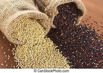 Raw red and white quinoa grains in jute sack on wood. Quinoa is grown in the Andes region  and has a high protein content and a high nutritional value (Selective Focus, Focus on the white quinoa grain