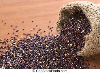 crecido, contenido, valued, granos, Quinoa, alimenticio,...
